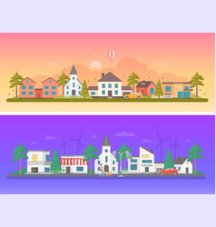Day and night city - set of modern flat vector