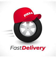 delivery icon wheel and red cap vector image