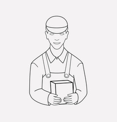 Delivery man icon line element vector