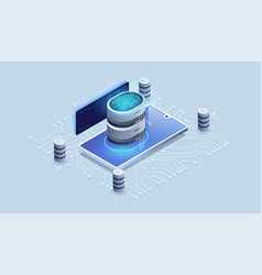 digital security access with biometrics data vector image