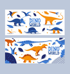 dino world banner children book prehistoric vector image