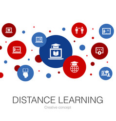Distance learning trendy circle template with vector