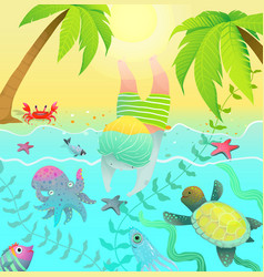 diving jumping boy kid in tropical paradise island vector image