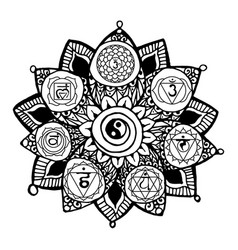 Doodle style monochrome black line art lotus vector