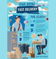 Fast delivery postal mail service mailman vector