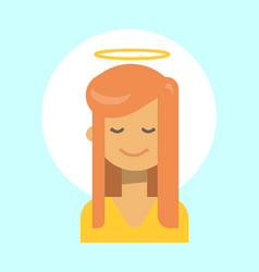 Female with angel nimbus emotion profile icon vector