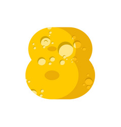 figure 8 cheese font numeral eight of cheesy vector image