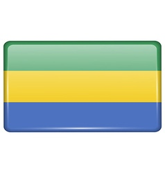 Flags Gabon in the form of a magnet on vector