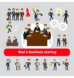 Flat startup concept with business people vector image