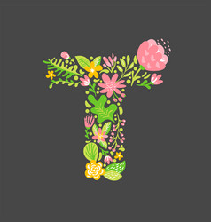 Floral summer letter t flower capital wedding vector