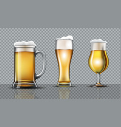 Full beer glasses mockup vector