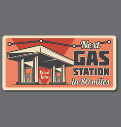 Gas station with fuel road direction sign board vector