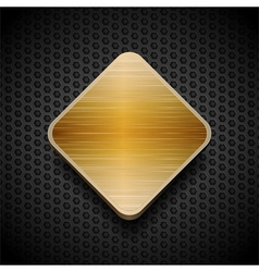 gold brushed panel on black mesh background vector image