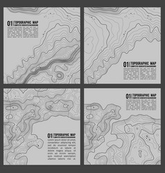 grey contours topography geographic vector image