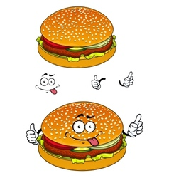 Hamburger cartoon character isolated on white vector