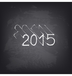Hand drawn 2015 on chalkboard vector image