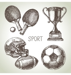 Hand drawn sports set Sketch sport balls vector image