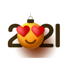 happy new year 2021 with heart smile emotion in vector image