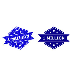 Hexagonal 1 million watermark with unclean style vector