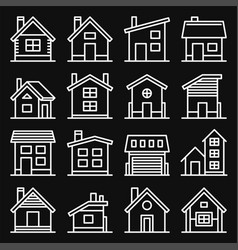 house icons set on black background line style vector image