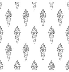 Ice cream easy pattern linear-09 vector