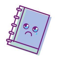 Kawaii cute crying notebook tool vector