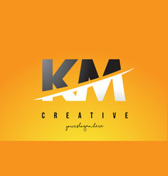 Km k m letter modern logo design with yellow vector