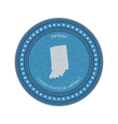 label with map indiana denim style vector image