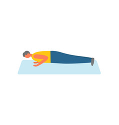 Man doing push-ups on rug sport and exercise vector