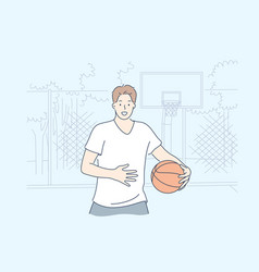 man playing basketball concept vector image