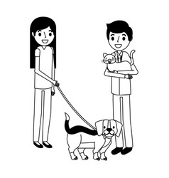 man with cat and girl holding dog vector image