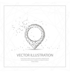 Map pin digitally drawn low poly wire frame vector