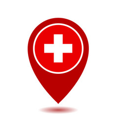Map pointer icon with cross first aid sign vector