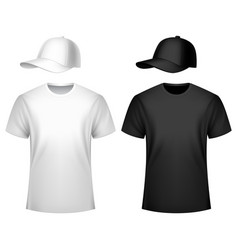 mens t-shirt and baseball cap vector image