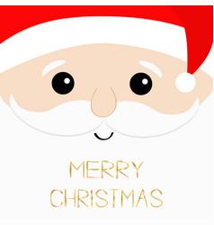 merry christmas text santa claus big head face vector image