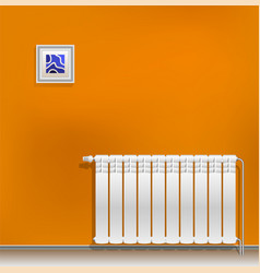 modern aluminum heating battery hanging on a vector image