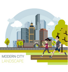 modern city cartoon style vector image