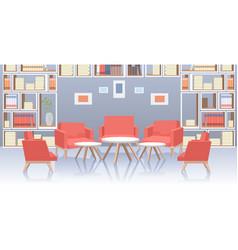 Modern office lobhall interior social vector