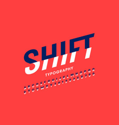 modern shift font alphabet letters and numbers vector image