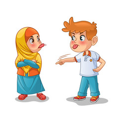 Muslim girl and boy mock each other vector