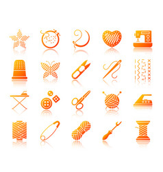 Needlework simple gradient icons set vector