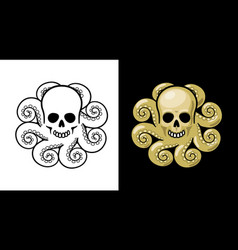 Octopus with skull head fantasy image vector