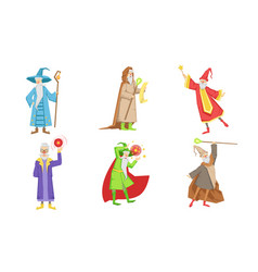 Old fairytale wizard characters set male magician vector