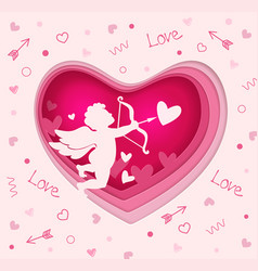 paper pink heart with cupid vector image