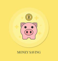 piggy bank with coin money saving icon vector image
