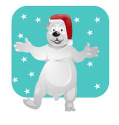 Polar bear with a christmas hat vector