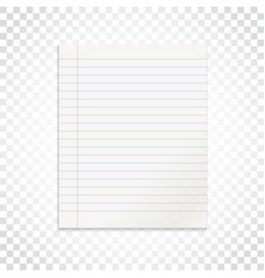 realistic line paper note on isolated background vector image