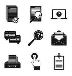 Request form icons set simple style vector
