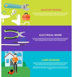 Sanitary electrical work lawn mowing vector