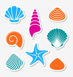 sea shells and starfish labels vector image